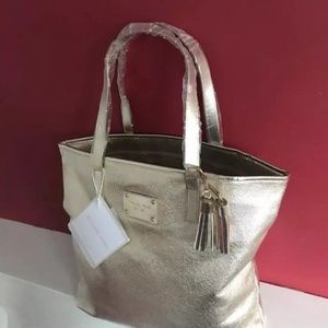 MICHAEL KORS gold metallic tote bag